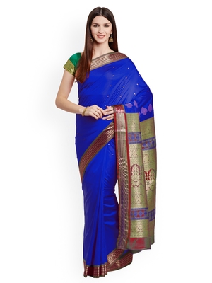 Chhabra 555  Blue Woven design Art Silk Banarasi saree with blouse
