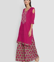 Buy chhabra 555 Pink hand woven unstitched hand woven salwar kameez with dupatta dress-material online