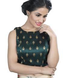 Women's Dark Green color Dupion Silk Readymade Blouse