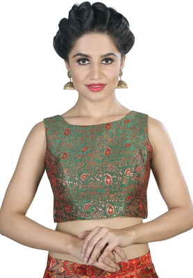 Women's Green Color Brocade Readymade Blouse