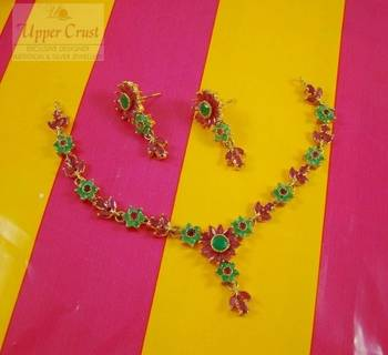 Ruby Emerald Navratna Navrattan Necklace Jewellery