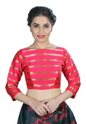 Women's Pink color Stripe Readymade Blouse