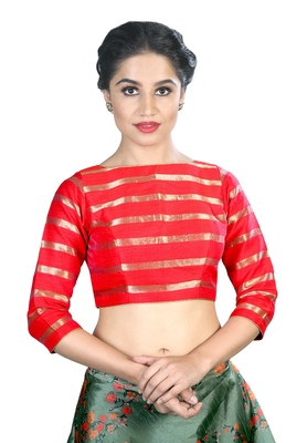Women's Red color Stripe Readymade Blouse