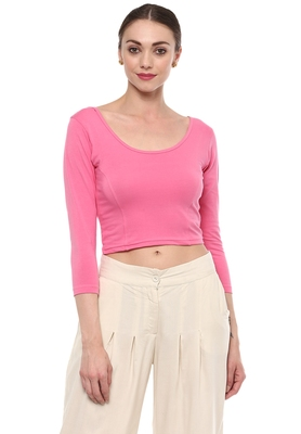 Light Pink Cotton Lycra Stretchable Readymade Free Size Blouse for Women