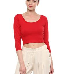 Red Cotton Lycra Stretchable Readymade Free Size Blouse For Women
