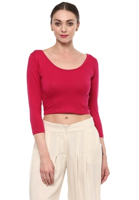 Pink Cotton Lycra Stretchable Readymade Free Size Blouse for Women