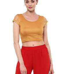 Dark Gold Cotton Lycra Stretchable Readymade Free Size Blouse for Women