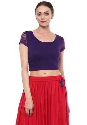 Purple Cotton Lycra Stretchable Readymade Free Size Blouse for Women