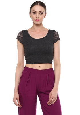 Grey Cotton Lycra Stretchable Readymade Free Size Blouse For Women