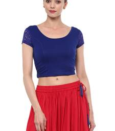 Blue Cotton Lycra Stretchable Readymade Free Size Blouse for Women