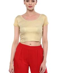 Light Gold Cotton Lycra Stretchable Readymade Free Size Blouse for Women