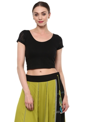 Black Cotton Lycra Stretchable Readymade Free Size Blouse For Women