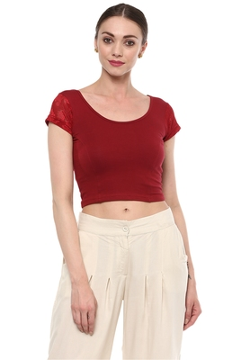 Maroon Cotton Lycra Stretchable Readymade Free Size Blouse for Women