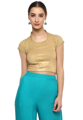Women's Gold Cotton Lycra Stretchable Readymade Free Size Blouse