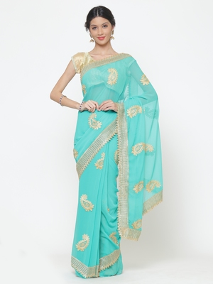Chhabra 555  Turquoise Blue embroidered Poly Georgette Heavy Work saree with blouse