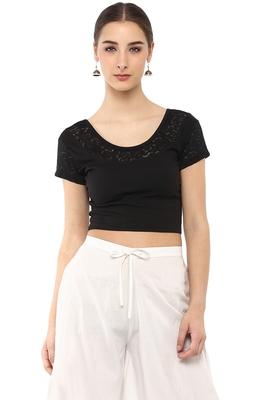 Women's Black Cotton Lycra Stretchable Readymade Free Size Blouse