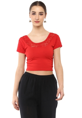 Women's Red Cotton Lycra Stretchable Readymade Free Size Blouse