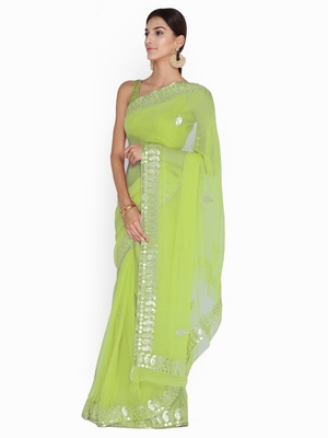 59ef88956e Chhabra 555 Lime Green embroidered Poly Georgette Heavy Work saree with  blouse - Chhabra 555 - 2725143