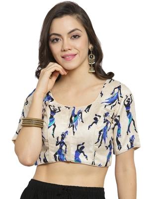 Women's Banglori Silk Beige & Blue Princess Cut Warli Print Readymade Blouse