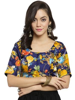 Women's Banglori Silk Blue & Yellow Princess Cut Readymade Blouse