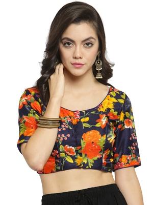 Women's Banglori Silk Blue & Orange Princess Cut Readymade Blouse