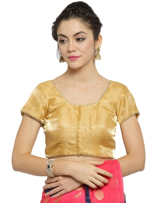 Women's Banglori Silk Gold Princess Cut Readymade Blouse