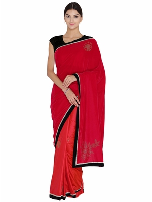 Chhabra 555  Red Embellished Velvet Half and Half saree with blouse
