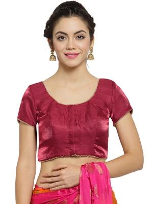 Women's Banglori Silk Maroon Princess Cut Readymade Blouse