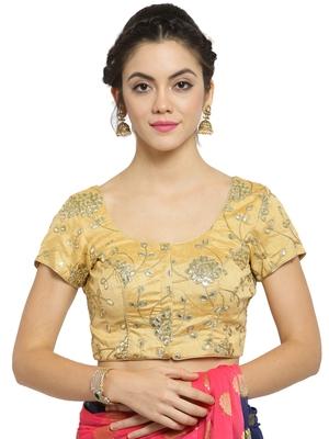 Women'S Dupion Silk Gold Princess Cut Gota Patti Work Readymade Blouse