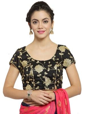 Women's Dupion Silk Black Princess Cut Gota Patti Work Readymade Blouse