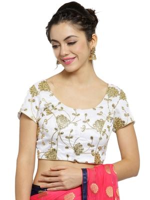 Women's Dupion Silk White Princess Cut Gota Patti work Readymade Blouse
