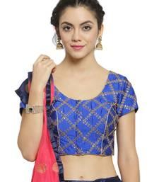 Women's Dupion Silk Blue Princess Cut Embroidered Readymade Blouse