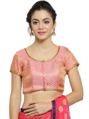 Women'S Brocade Pink Princess Cut Readymade Blouse