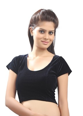 Women's black Strech Velvet Non Padded Stretchable Readymade Blouse