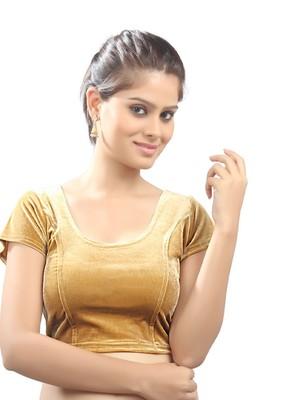 Women's gold Strech Velvet Non Padded Stretchable Readymade Blouse