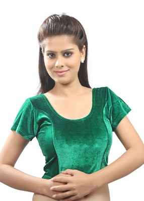 Women's Green Strech Velvet Non Padded Stretchable Readymade Blouse