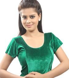 Women's Green Strech Velvet Non Padded Stretchable Readymade Blouse
