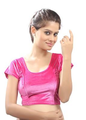 Women's Light Pink Strech Velvet Non Padded Stretchable Readymade Blouse