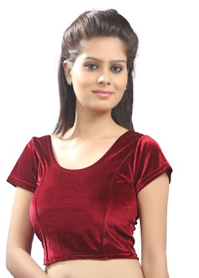 Women's Maroon Strech Velvet Non Padded Stretchable Readymade Blouse
