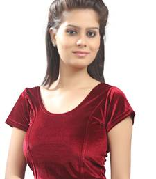 Women's Maroon Strech Velvet Non Padded Stretchable Readymade Blouse