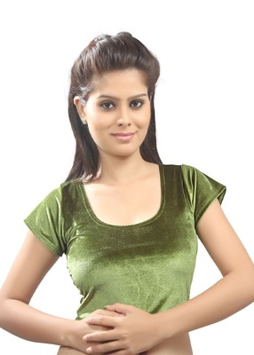 Women's Mehendi Green Strech Velvet Non Padded Stretchable Readymade Blouse