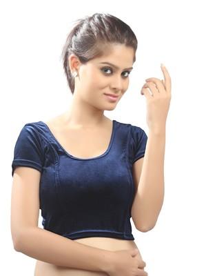 Women's 0Vy Blue Strech Velvet Non Padded Stretchable Readymade Blouse