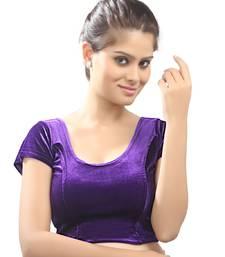 Women's purple Strech Velvet Non Padded Stretchable Readymade Blouse