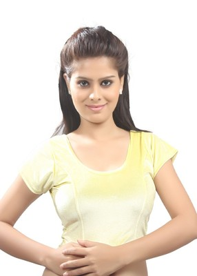 Women's yellow Strech Velvet Non Padded Stretchable Readymade Blouse