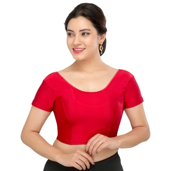 Women's Maroon Lycra Non Padded Stretchable Readymade Blouse