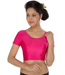 Women's Pink Lycra Non Padded Stretchable Readymade Blouse