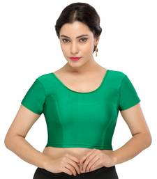 Women's rama green Lycra Non Padded Stretchable Readymade Blouse