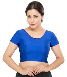 Women's royal blue Lycra Non Padded Stretchable Readymade Blouse
