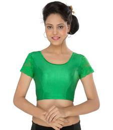 Women's green Stretch Lycra Non Padded Stretchable Readymade Blouse