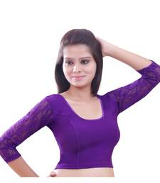 Women's Purple Stretch Lycra Non Padded Stretchable Readymade Blouse